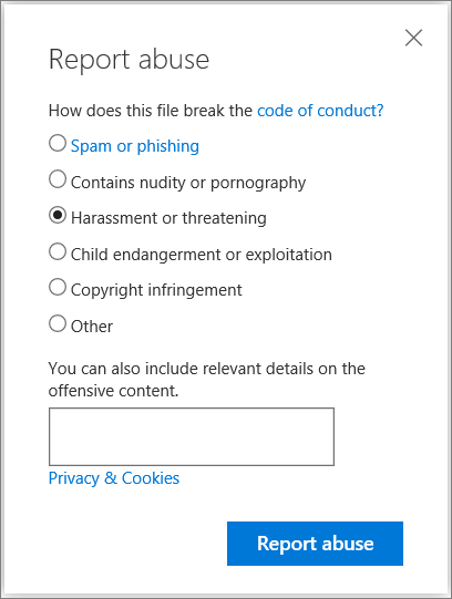Screenshot of the Report abuse dialog box in OneDrive
