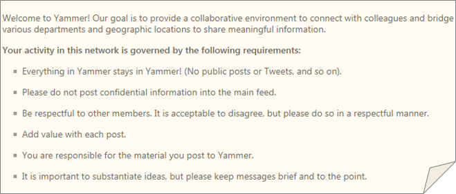 A sample Yammer policy