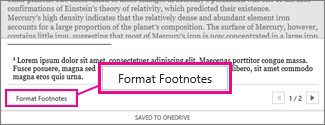 Format Footnotes button in the Footnote editing area of Word Online