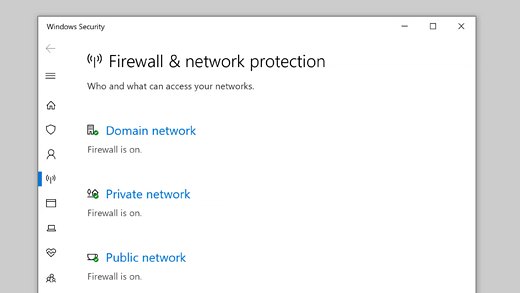 Firewall & network protection in Windows Security