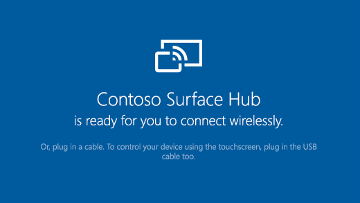 Shows the Connect app open on a Surface Hub that says the Surface Hub is ready to connect wirelessly.