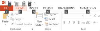 Press Alt and KeyTips appear