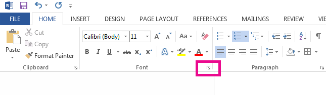 Click the arrow to open the Font Options dialog box.