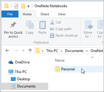 Screenshot of the Windows Documents folder with OneNote notebook folder visible.