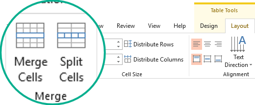 Merge or Split table cells