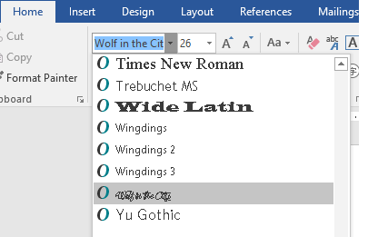 Your new font now appears on the list of fonts in Word.