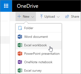 OneDrive's New menu, Excel Workbook command