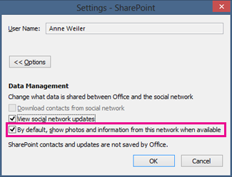 The settings dialog for social network accounts