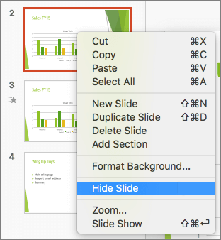 Screenshot shows a slide selected and the right-click menu with the Hide Slide option selected.