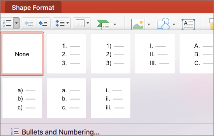 Screenshot of numbering styles available when you select the arrow on the Numbering button