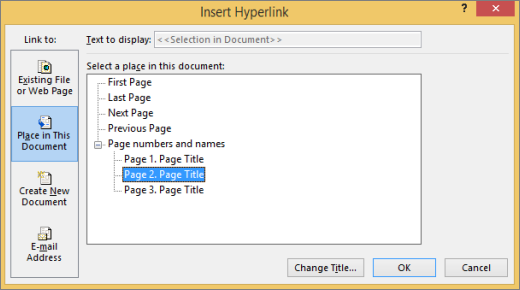 Creating a hyperlink to a page in the publication