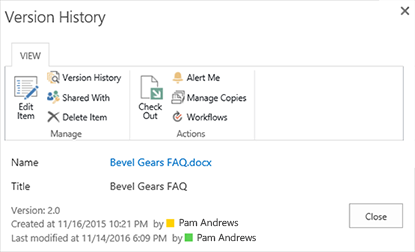 SharePoint 2016 Version history dialog