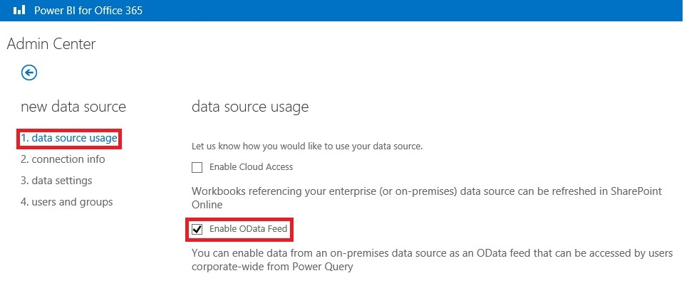 Admin Center - New Data Source - OData Feed