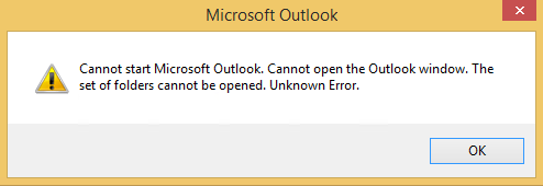 The screenshot for the error message
