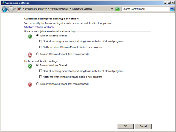 Click Turn on Windows Firewall for each network location, and then click OK.