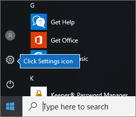In the Start menu, click Windows Settings icon