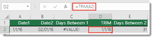 USE TRIM() to remove leading or trailing spaces - Formula in cell D2 is =TRIM(A2)