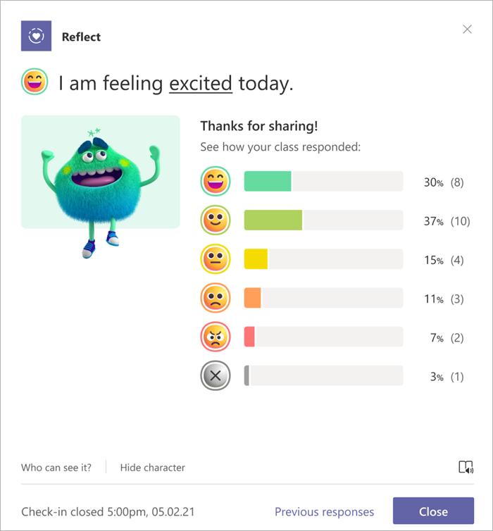 Student view of the distribution of responses from their peers. A bar graph correlates with emojis. At the top the student's personal reflection is visible.
