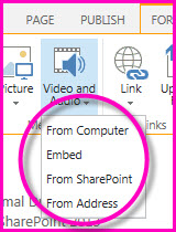 Screenshot of the Video and Audio menu on the ribbon. This menu option appears on the Insert tab when you edit a SharePoint page.