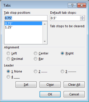 set clear or remove tab stops office support