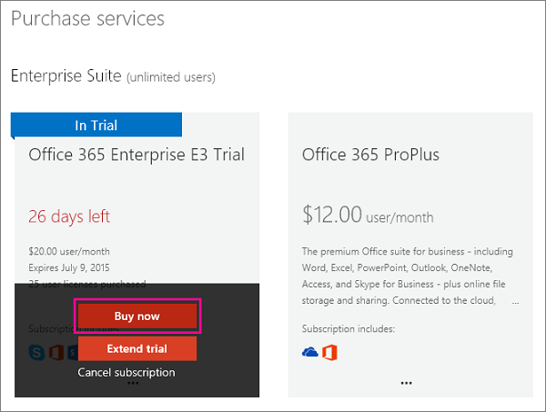 Buy now button used to buy an Office 365  subscription.