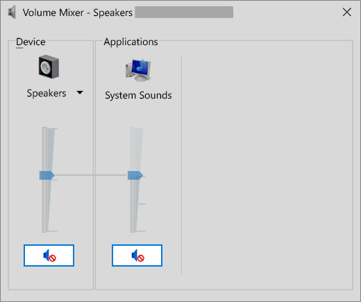 Volume mixer with muted volume controls