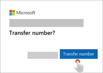 Screenshot of hand pointing to Transfer number button