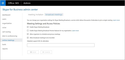 Skype for Business admin center