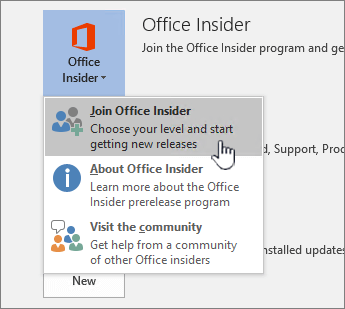 Join office insider button