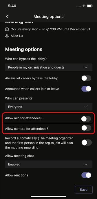Select Allow mic for attendees