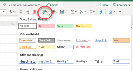 Cell Styles button on the ribbon in Excel for the web