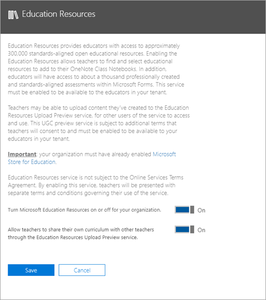 Education Resources admin center