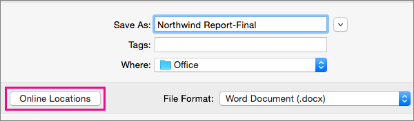 On the File menu, click Save As, and then click Online Locations to save a document to an online location.
