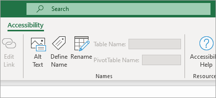 Shows accessibility ribbon