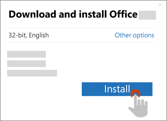 Shows the Install button in the Download Office dialog box