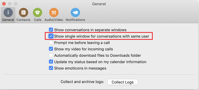 General page of Preferences dialog box