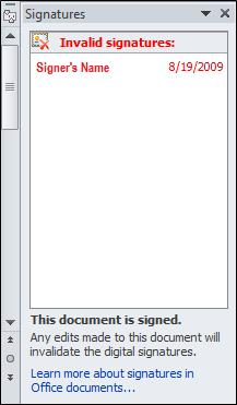 Signatures pane with invalid signature