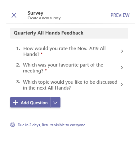 Survey Poll preview in Microsoft Teams
