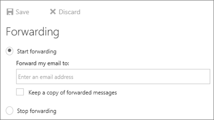 A screenshot shows the Forwarding dialog box with the Start forwarding option selected.