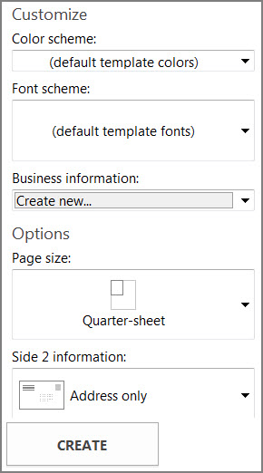 Postcard template options for Publisher's built-in templates.