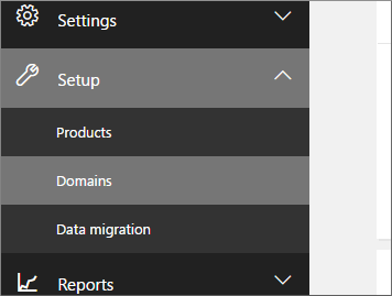 Click Setup then Domains