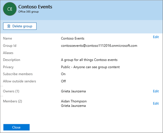 Edit existing group in admin center.