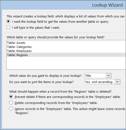 Options to choose in Lookup Wizard