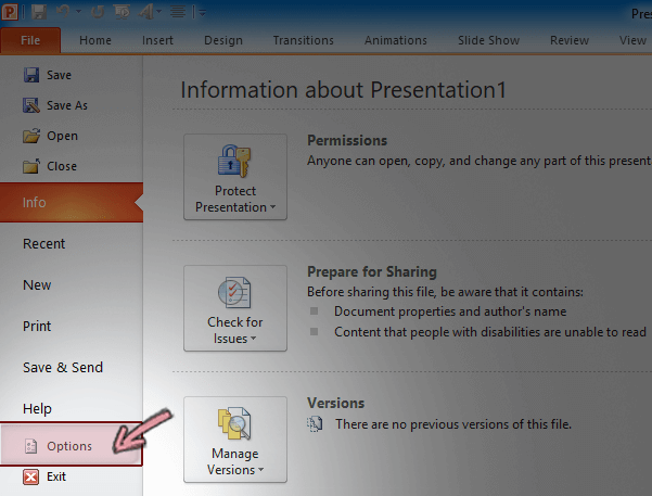 On the File tab of the Ribbon in PowerPoint 2010, click Options
