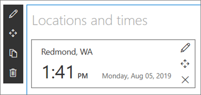 The World Clock web part for SharePoint sites, with a location and date/time format set