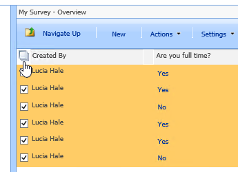 In the Site Manager screen, with Survey selected, click the Select All icon.