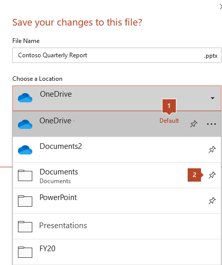 The save dialog in Microsoft Office 365 showing a list of folders.