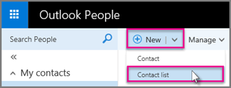 New > Contact list