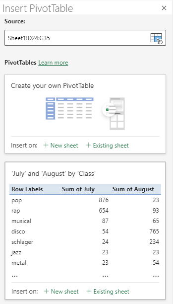 Insert PivotTable dialog box in Excel for the Web showing the selected cell range.