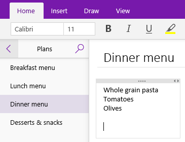Screenshot of a note container on a page in OneNote